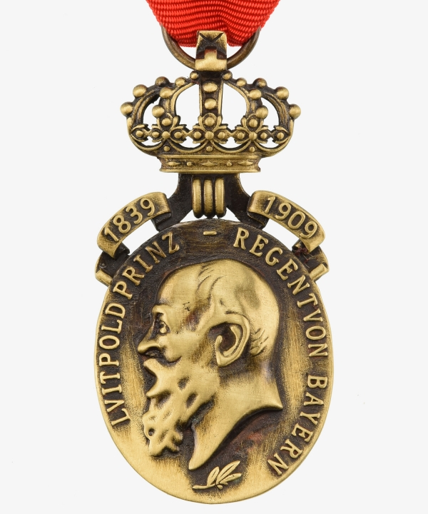 Bavaria Prince Regent Luitpold Anniversary medal with crown and dates 1839 - 1909