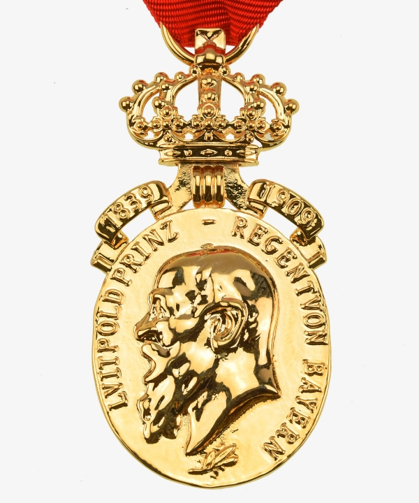 Bavaria Prince Regent Golden Luitpold Anniversary medal with crown and dates 1839 - 1909